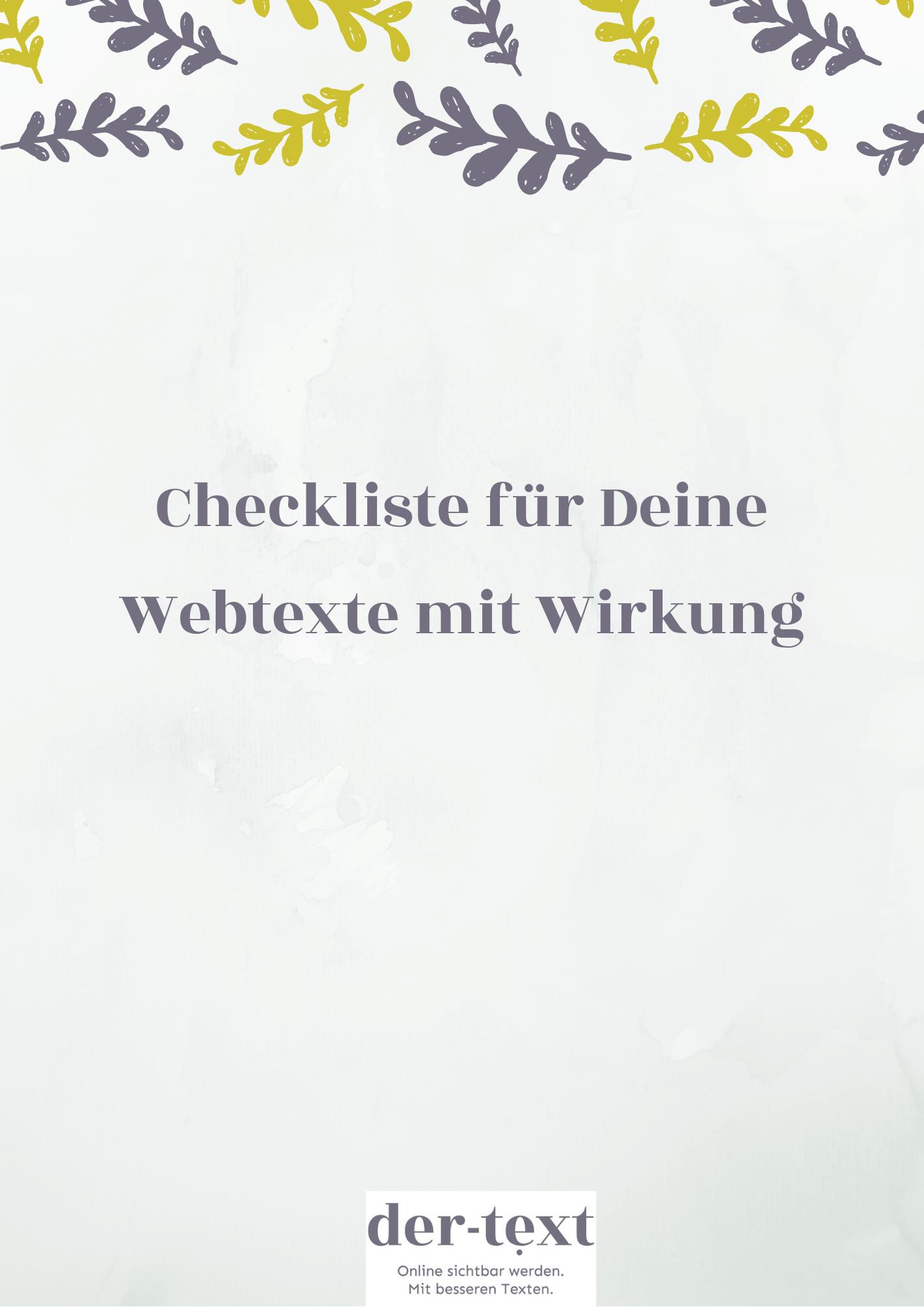 Checkliste für Deine Website-Texte