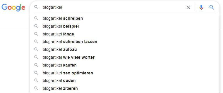 Beispiel für die Google Autovervollständigung